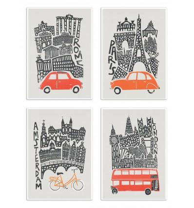 4 Art-Posters 20 x 30 cm - Europa Turn - Fox and Velvet