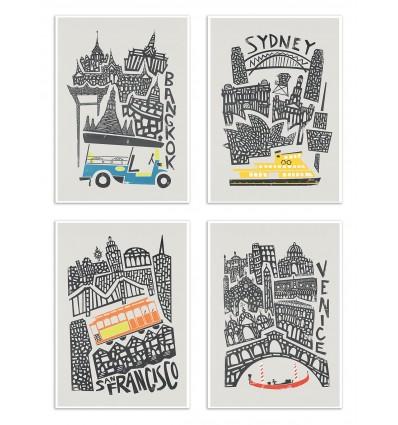 4 Art-Posters 20 x 30 cm - Tour du monde - Fox and Velvet