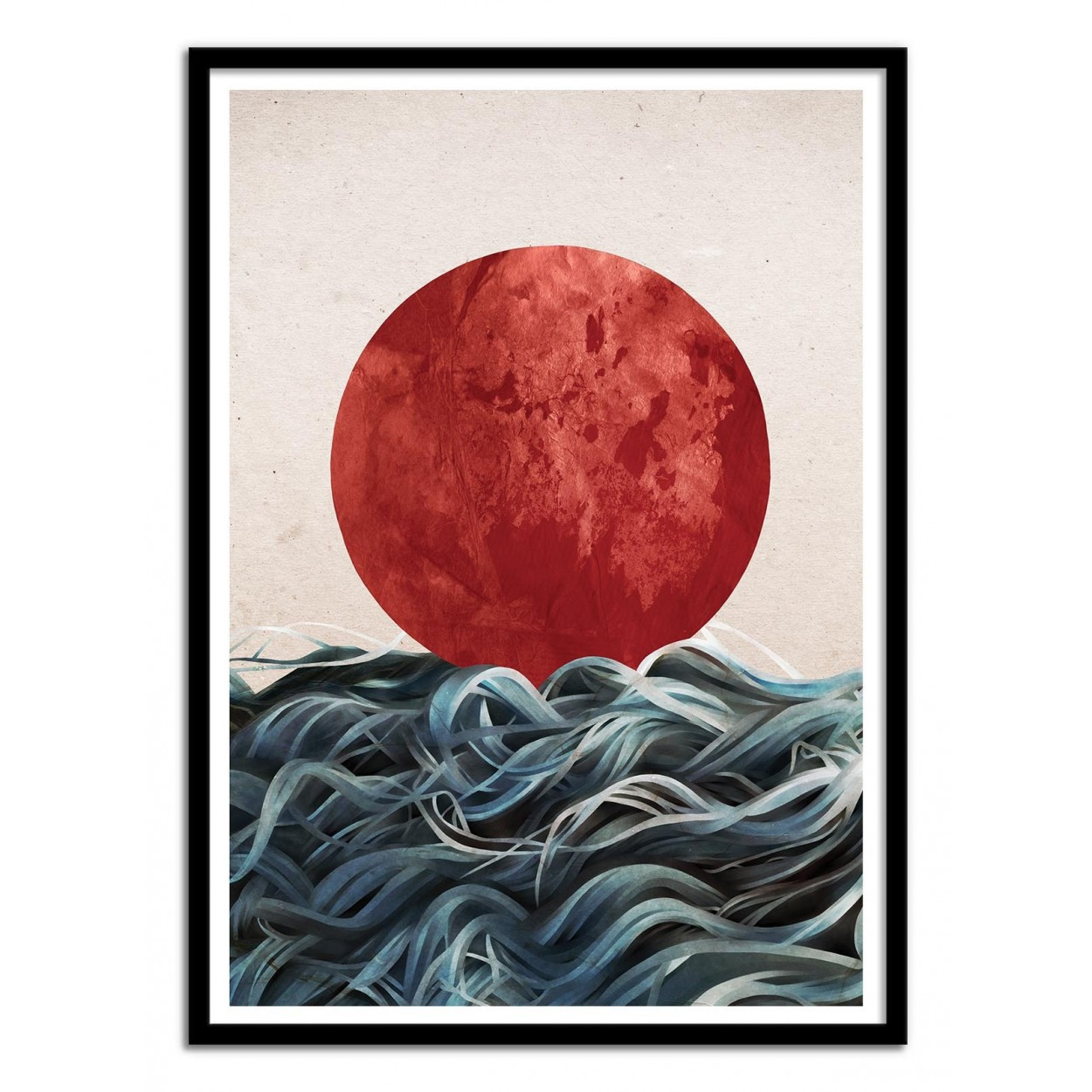 Photo, Art, Poster frame and design of Japan sun with sea