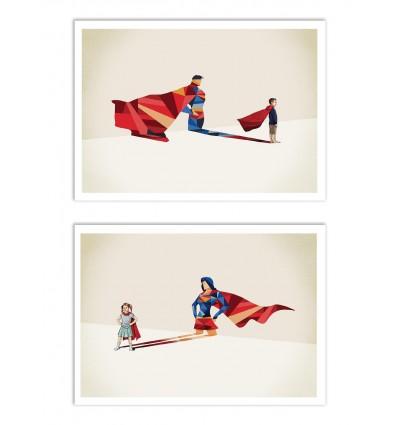2 Art-Posters 30 x 40 cm - Duo Super Héros - Jason Ratliff