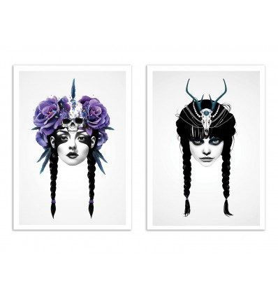 2 Art-Posters 30 x 40 cm - Duo Warriors - Ruben Ireland