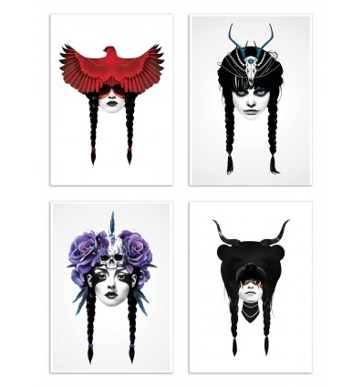 4 Art-Posters 20 x 30 cm - Warriors - Ruben Ireland
