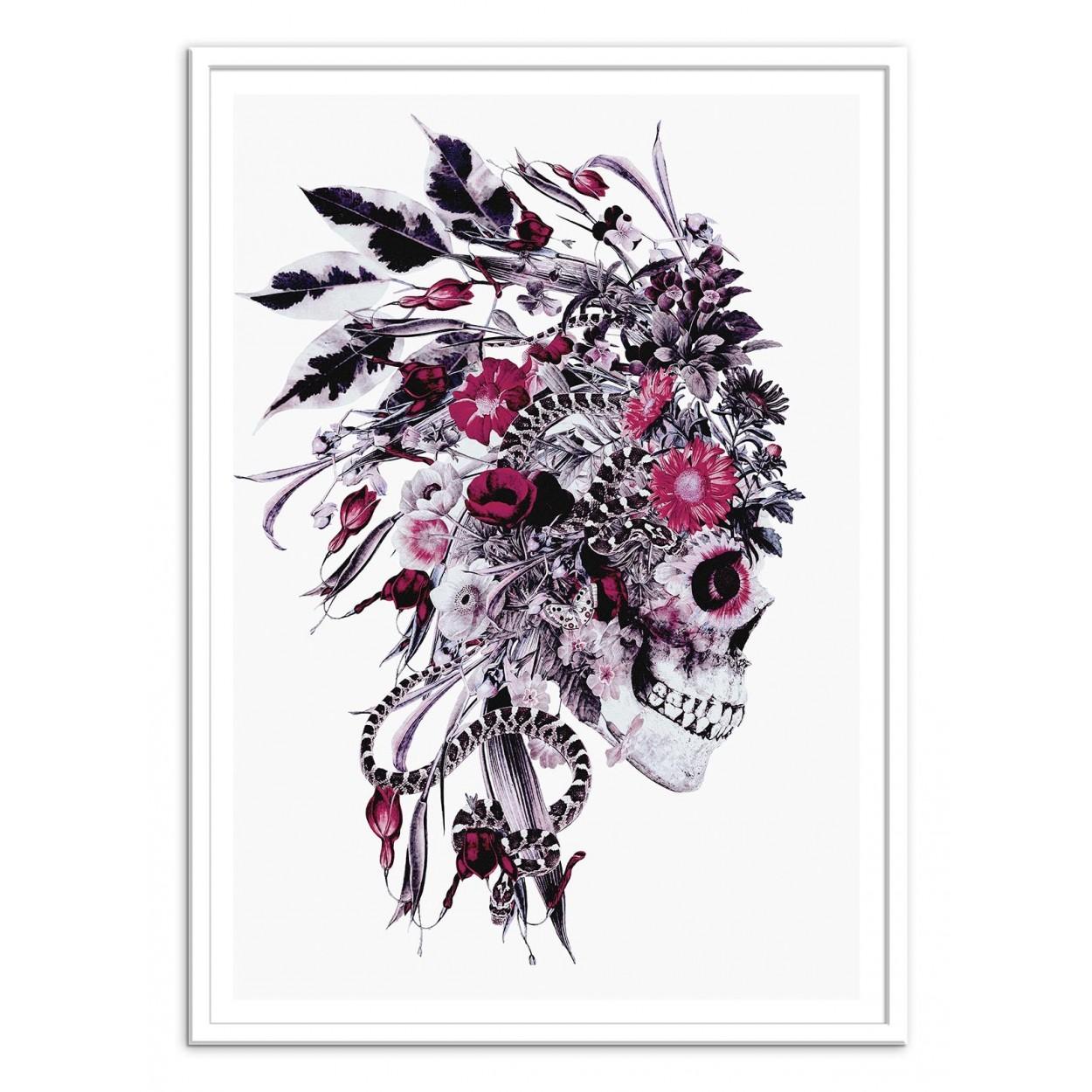 Affiche d 39 art tableau poster design illustration t te de mort fleurs - Tete de mort fleur ...