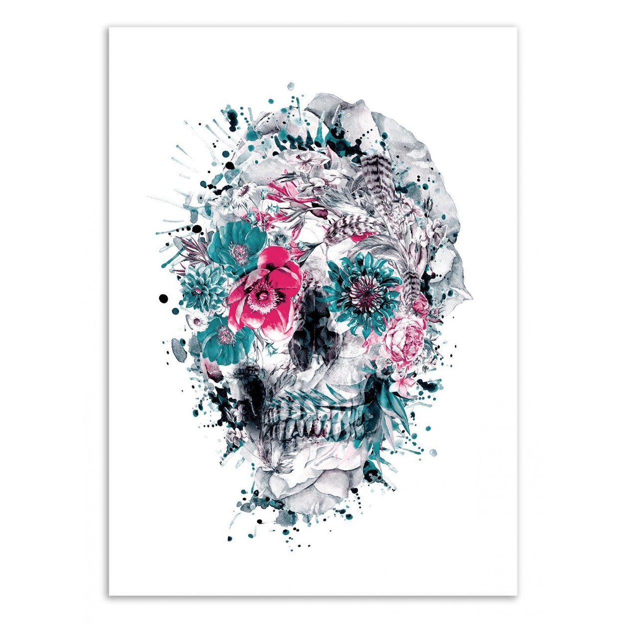 affiche d 39 art tableau poster design illustration t te de mort fleurs. Black Bedroom Furniture Sets. Home Design Ideas
