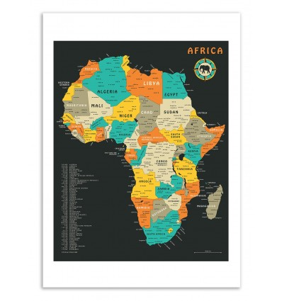 Africa Map - Jazzberry Blue