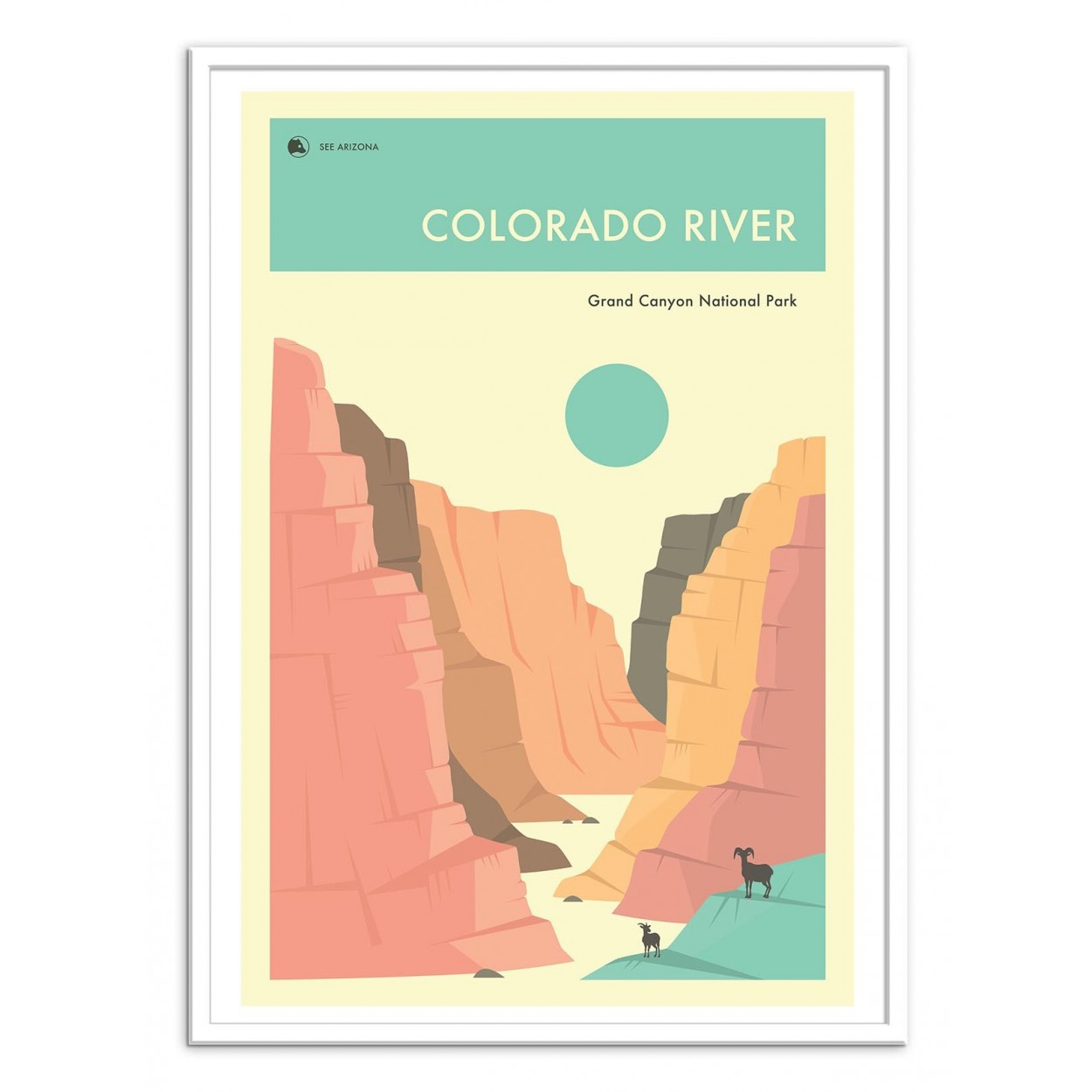 Photo, Art Poster frame and design illustration Grand Canyon Colorado