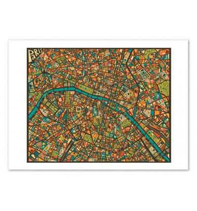 Paris Street Map - Jazzberry Blue