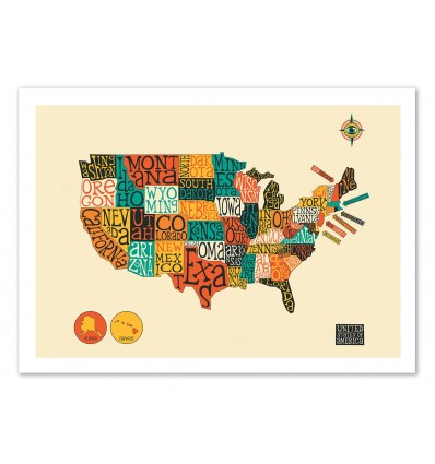 United States Map - Jazzberry Blue