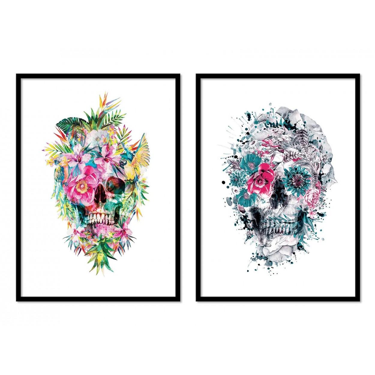 Affiche d 39 art tableau poster design illustration t te de - Tableau tete de mort castorama ...