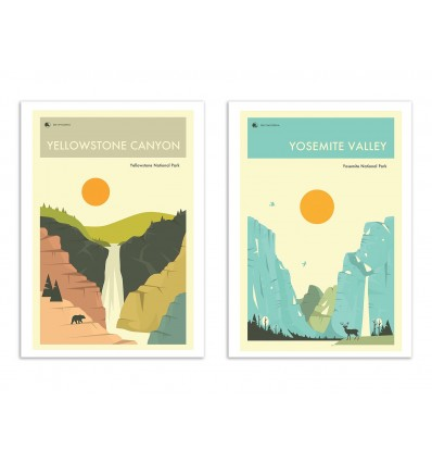 2 Art-Posters 30 x 40 cm - Duo Yellowstone Yosemite - Jazzberry Blue