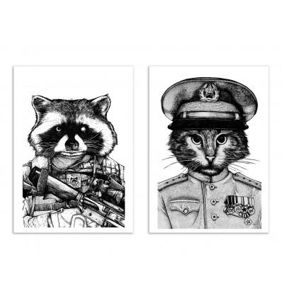 2 Art-Posters 30 x 40 cm - Duo raccoon and cat - Nicolas Côme