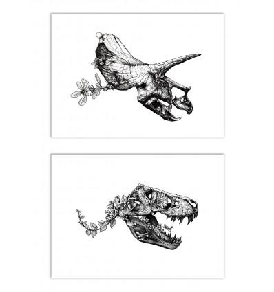 2 Art-Posters 30 x 40 cm - Duo Tyrannosaur and Triceratops - Nicolas Côme