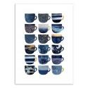 Art-Poster - Pretty Blue Coffee Cups - Elisabeth Fredriksson