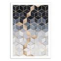 Art-Poster - Soft blue gradient Cubes - Elisabeth Fredriksson