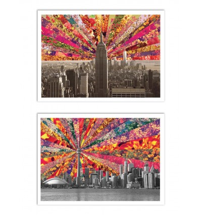 2 Art-Posters 30 x 40 cm - Duo New-York and Toronto Blooming - Bianca Green