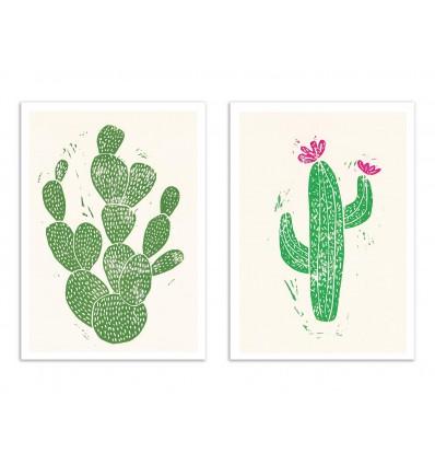 2 Art-Posters 30 x 40 cm - Duo Linocut Cactus - Bianca Green