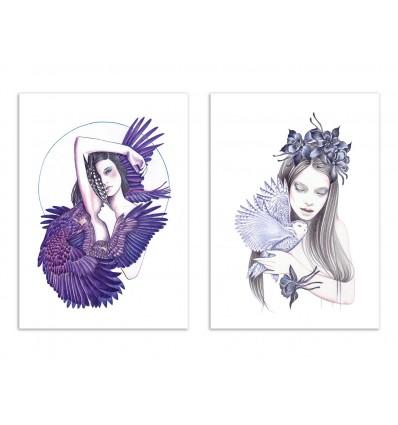 2 Art-Posters 30 x 40 cm - Duo Wild Women - Andrea Hrnjak