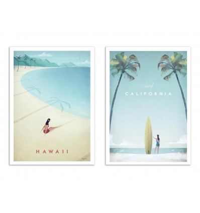 Illustration Art Poster, frame, print of california and hawai beach