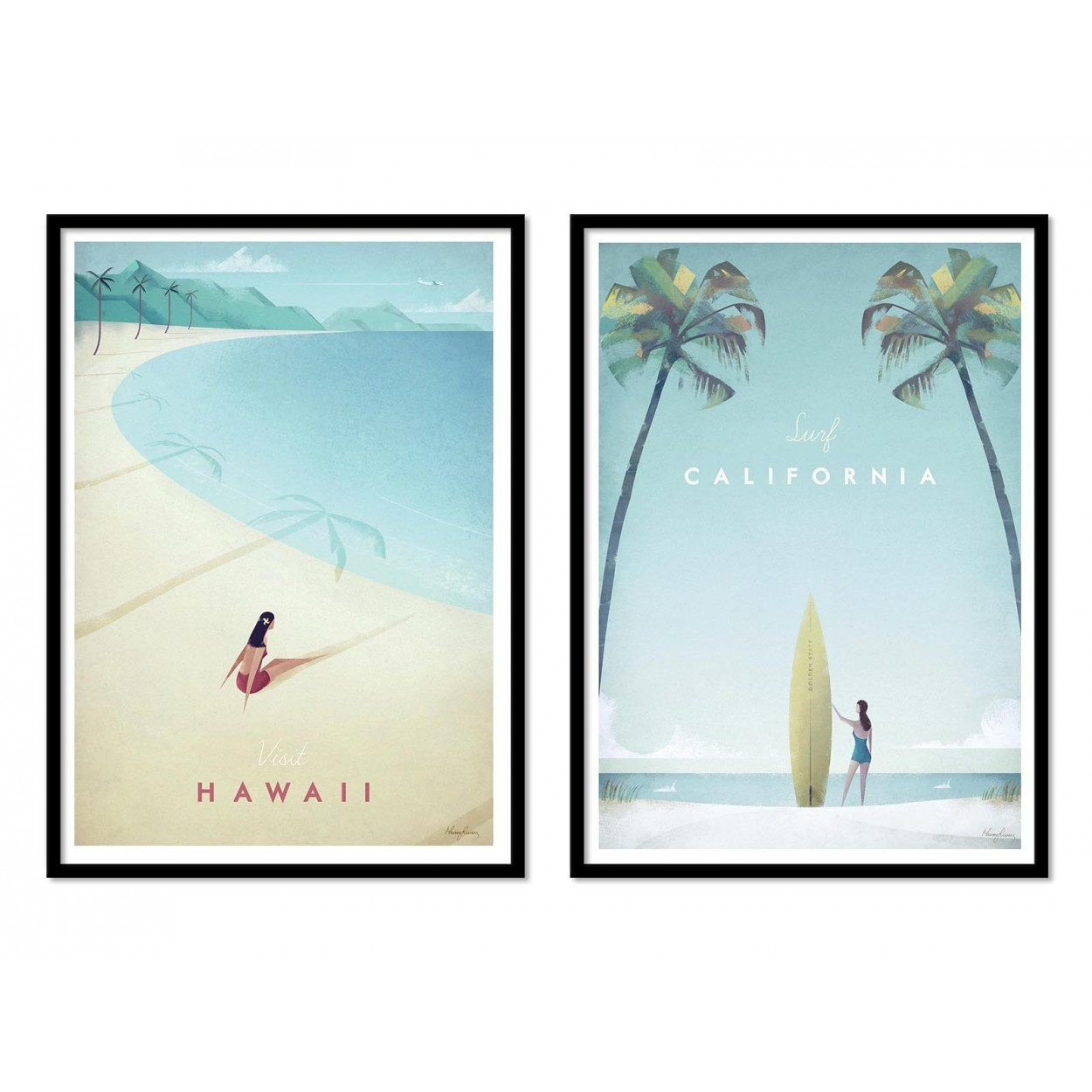 illustration art poster frame print of california and hawai beach. Black Bedroom Furniture Sets. Home Design Ideas