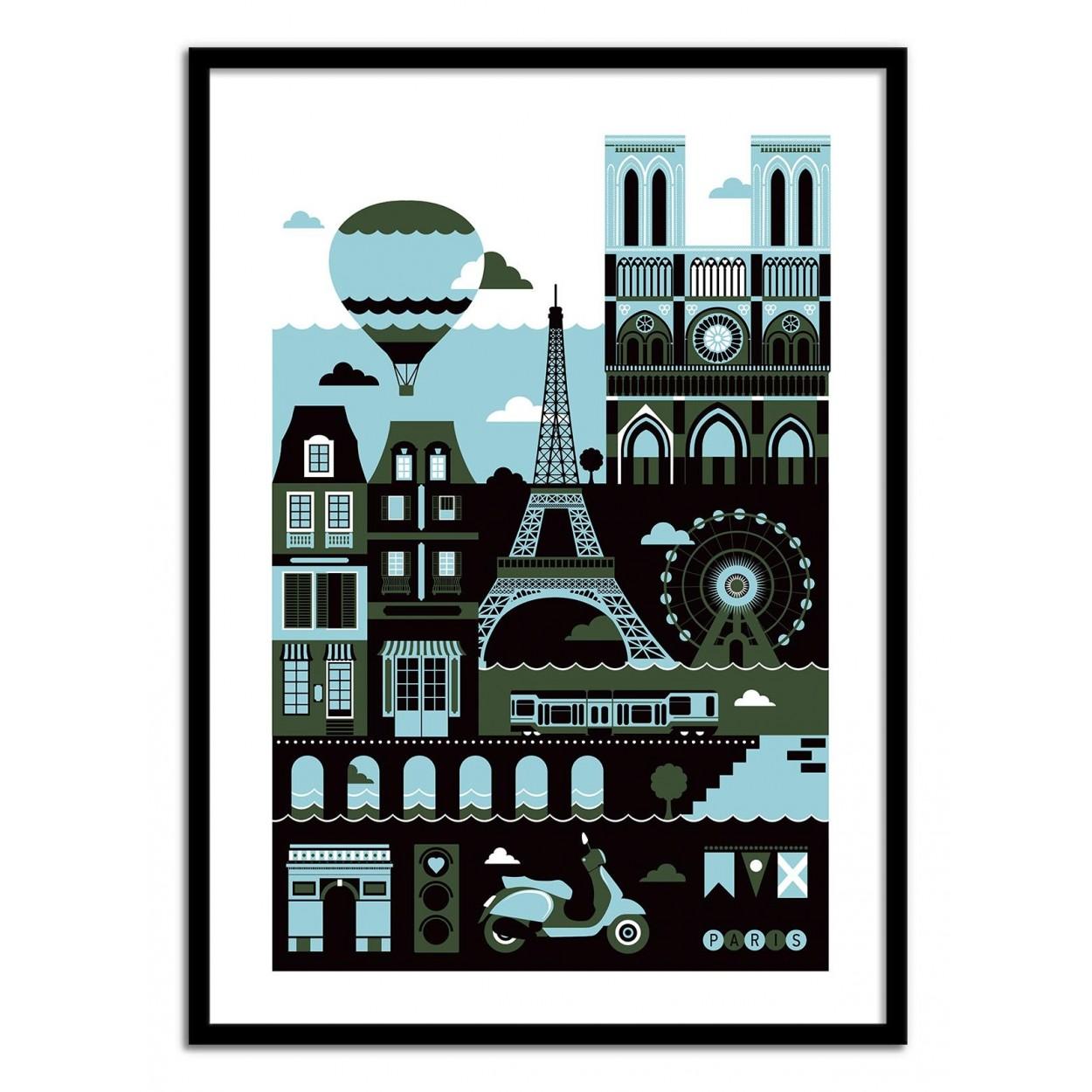 Affiche D Art Poster Illustration De Paris France Vector Art