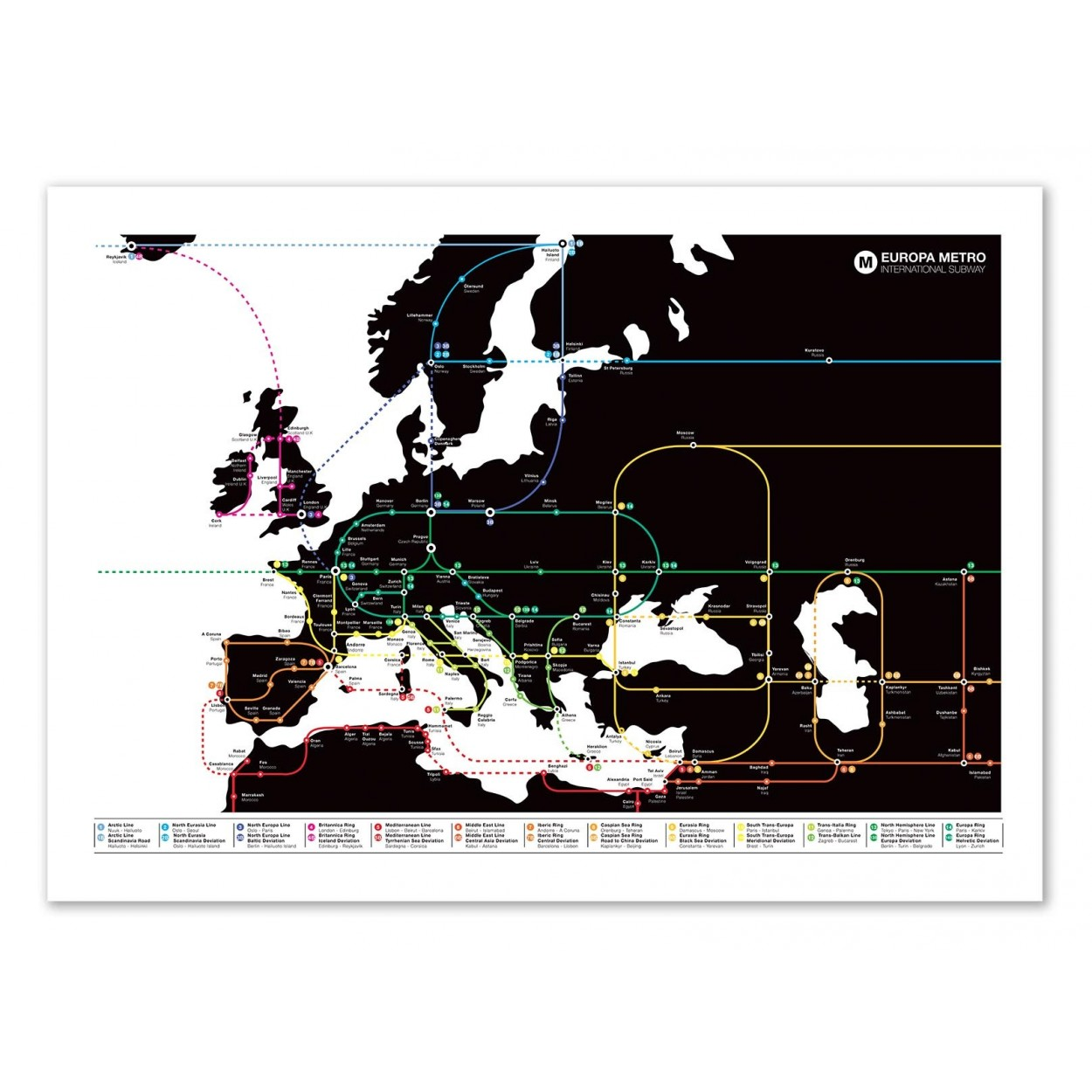 Photo art poster frame and illustration of europa design metro map europa world map olivier bourdereau gumiabroncs Choice Image