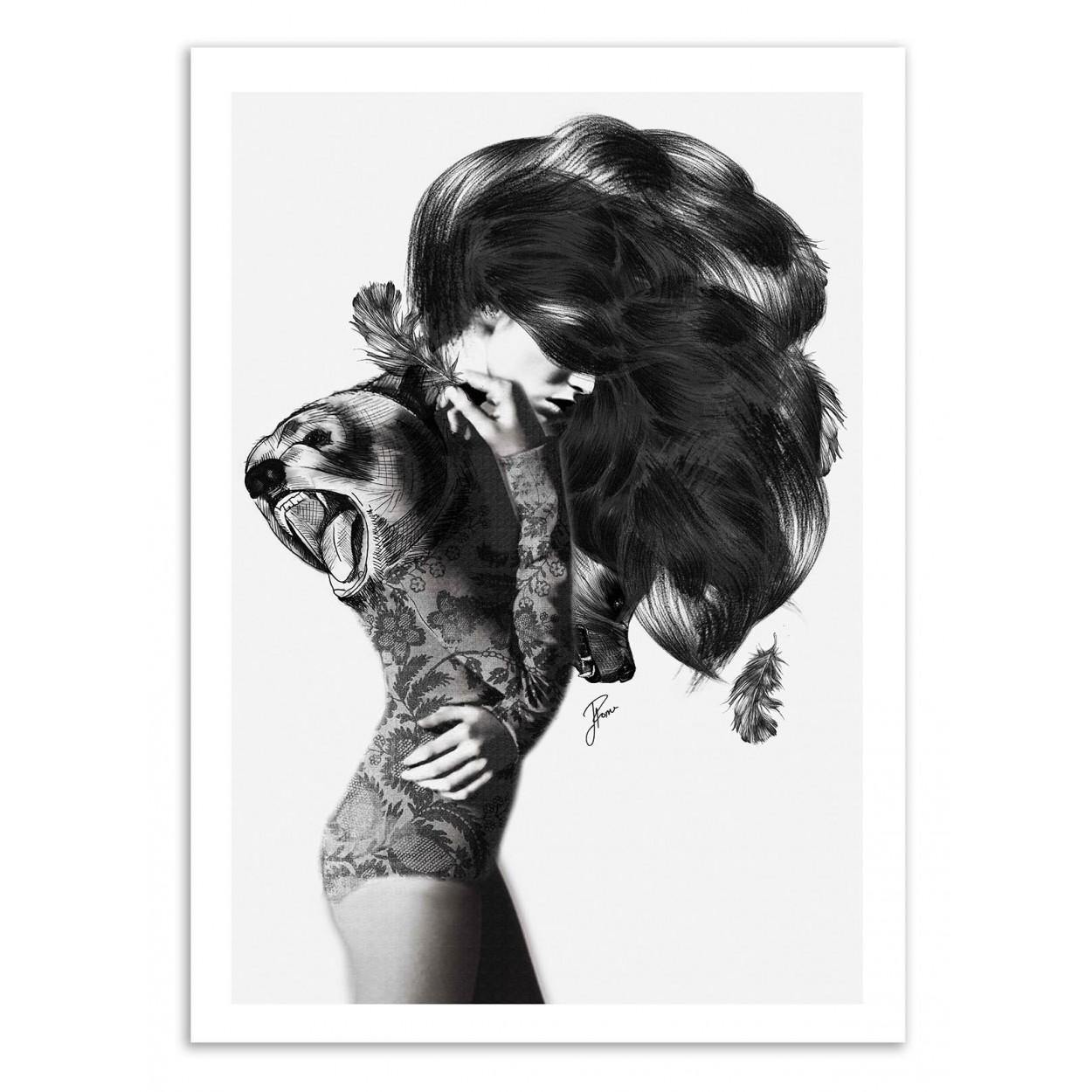 affiche d 39 art poster illustration dessin femme fille noir et blanc. Black Bedroom Furniture Sets. Home Design Ideas