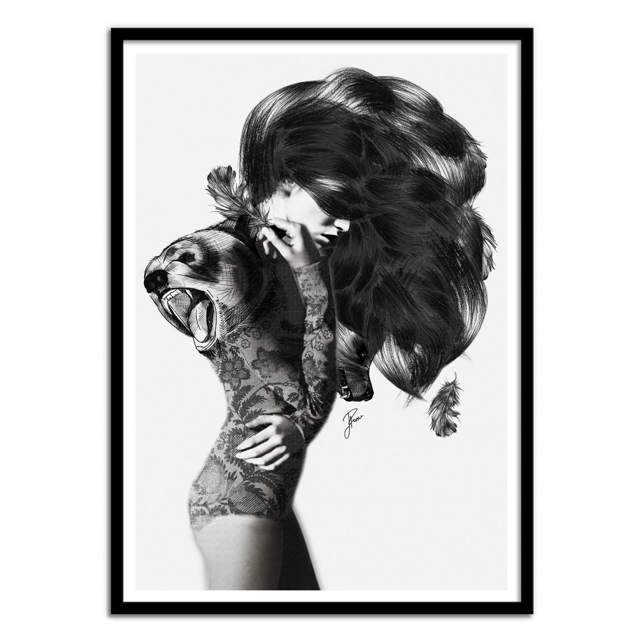 illustration art poster frame draw of a sexy woman girl black white. Black Bedroom Furniture Sets. Home Design Ideas