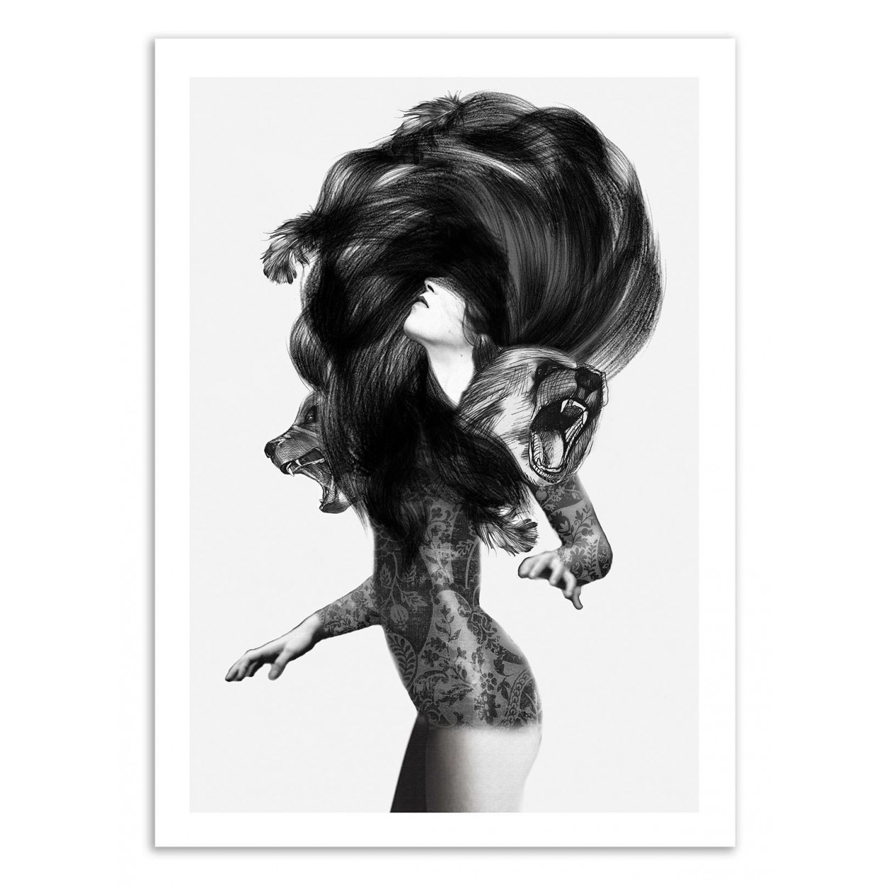 affiche d 39 art poster illustration dessin femme fille noir et blanc. Black Bedroom Furniture Sets. Home Design Ideas