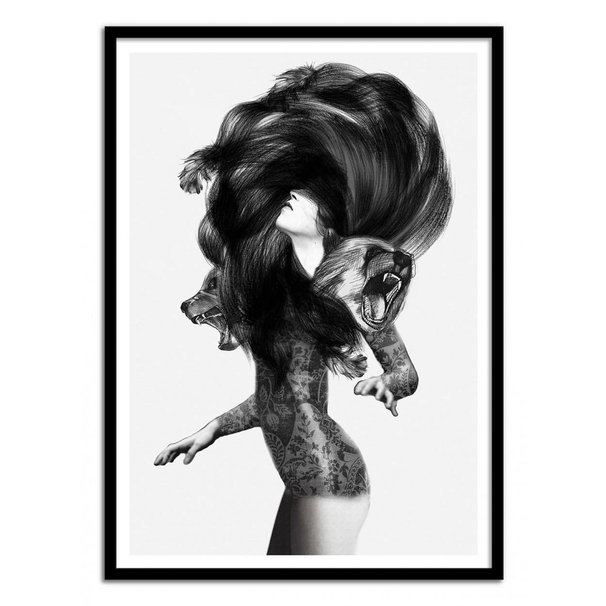 Affiche Dart Poster Illustration Dessin Femme Fille Noir