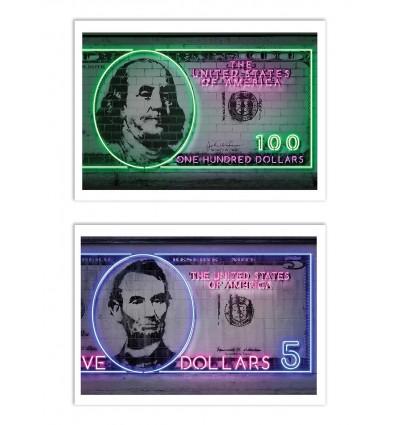 2 Art-Posters 30 x 40 cm - Duo Neon Dollars - Octavian Mielu