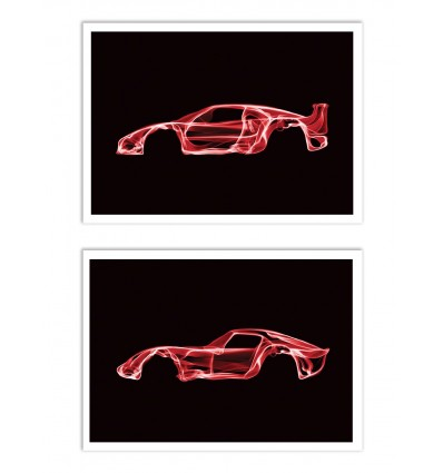 2 Art-Posters 30 x 40 cm - Duo Ferrari F40 and 250 GTO - Octavian Mielu