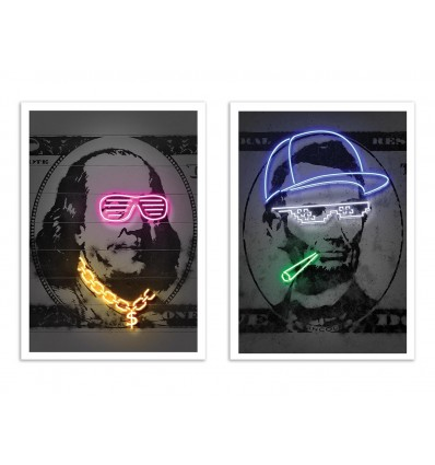 2 Art-Posters 30 x 40 cm - Duo Franklin and Lincoln - Octavian Mielu