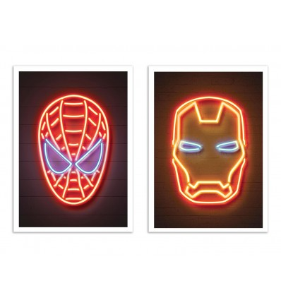 2 Art-Posters 30 x 40 cm - Duo Spiderman and Ironman Neon - Octavian Mielu