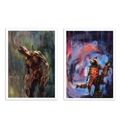 2 Art-Posters 30 x 40 cm - Duo Groot and Rocket - Wisesnail