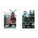 2 Art-Posters 30 x 40 cm - Duo Amsterdam and Paris - Koivo