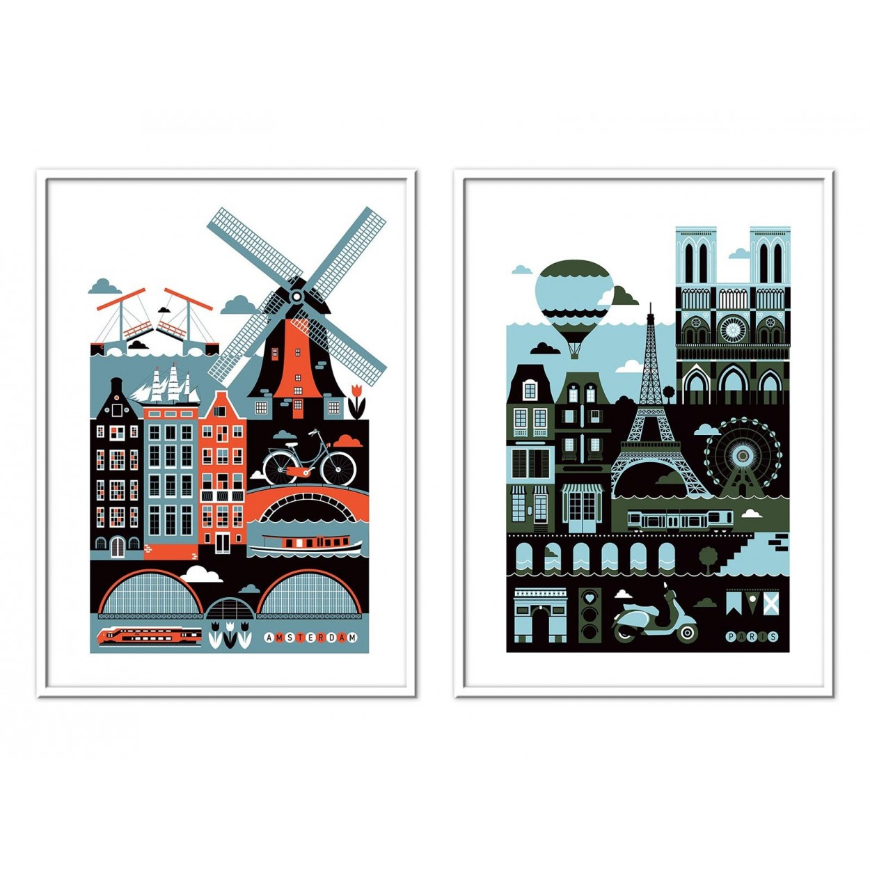 Affiche D Art Poster Illustration Street Art D Amsterdam Et Paris