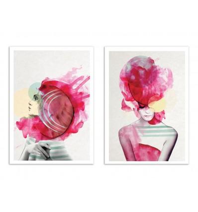 2 Art-Posters 30 x 40 cm - Duo Bright Pink - Jenny Liz Rome