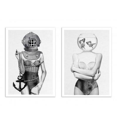2 Art-Posters 30 x 40 cm - Duo Ocean Girls - Jenny Liz Rome