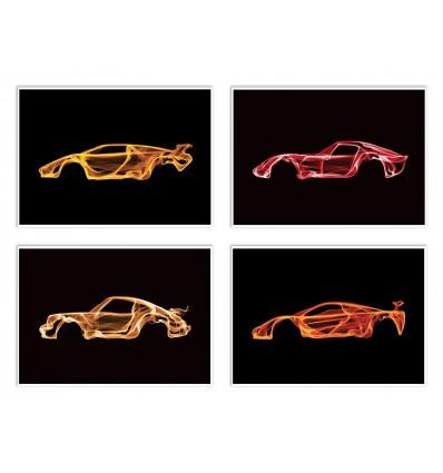 4 Art-Posters 20 x 30 cm - Pack Smokey Cars - Octavian Mielu