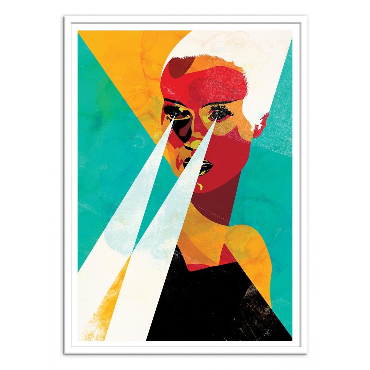 affiche d 39 art poster illustration peinture graphique portrait femme. Black Bedroom Furniture Sets. Home Design Ideas