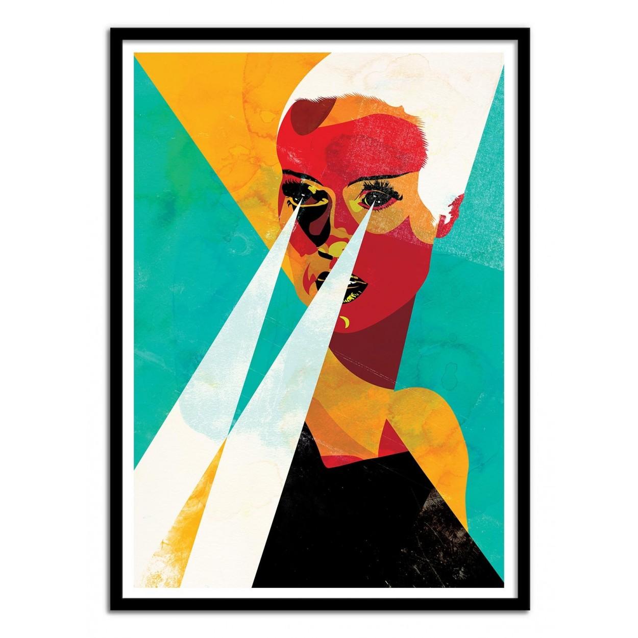 illustration art poster frame paint graphic portrait woman portrait. Black Bedroom Furniture Sets. Home Design Ideas