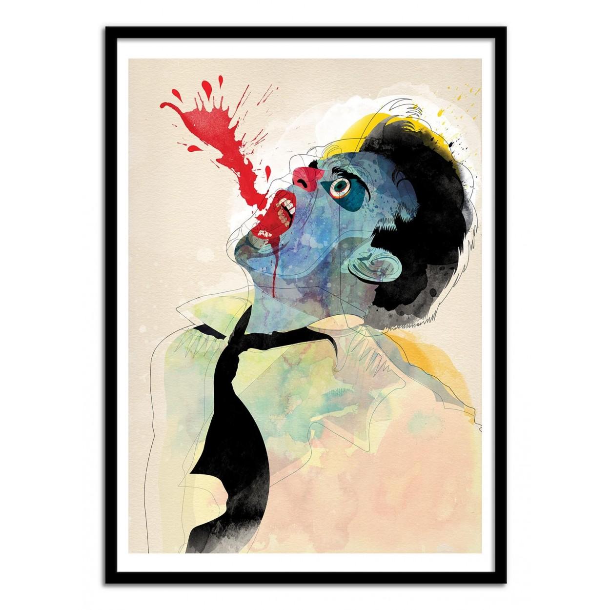 affiche d 39 art poster illustration graphique d 39 homme qui saigne. Black Bedroom Furniture Sets. Home Design Ideas