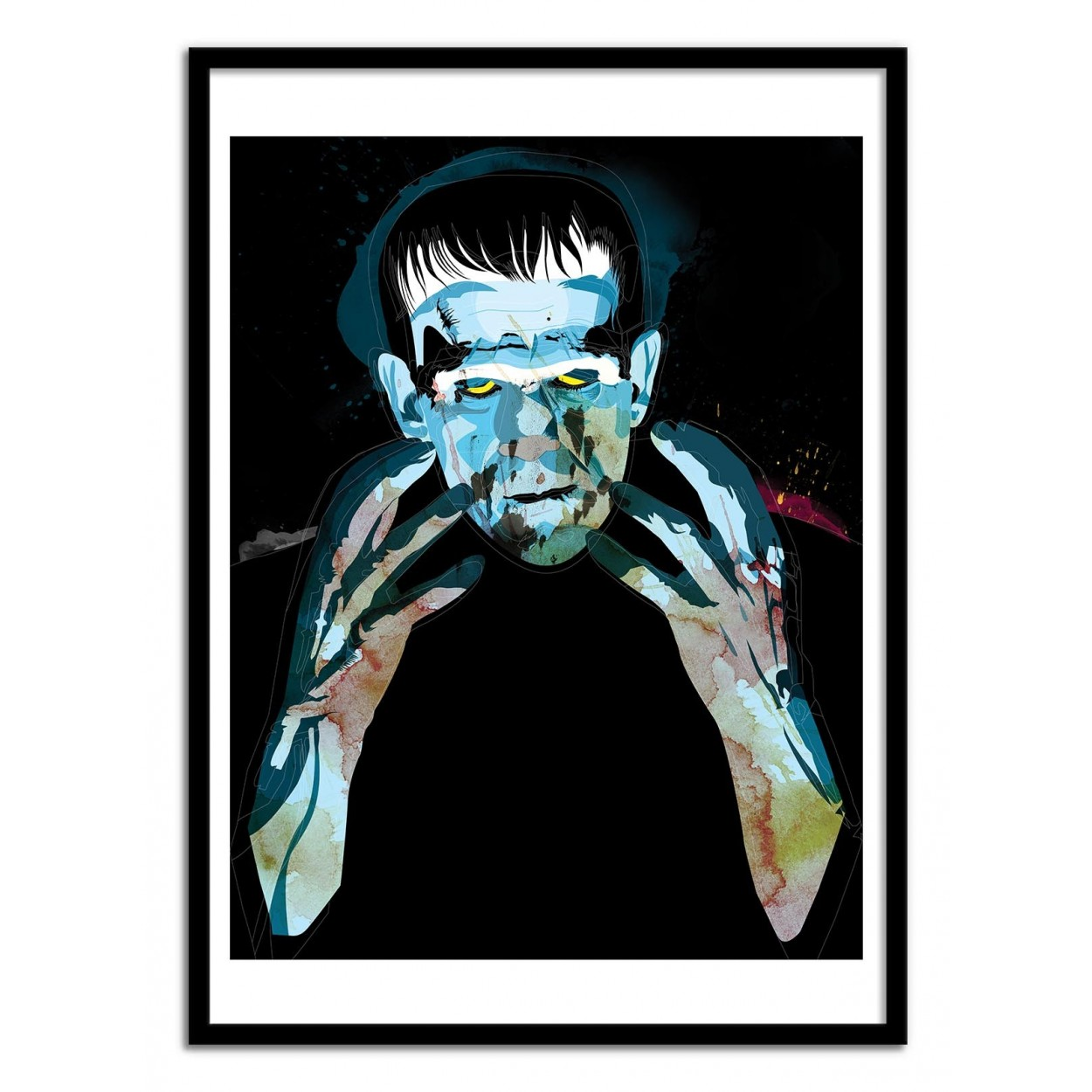 illustration art poster frame paint graphic portrait frankenstein. Black Bedroom Furniture Sets. Home Design Ideas