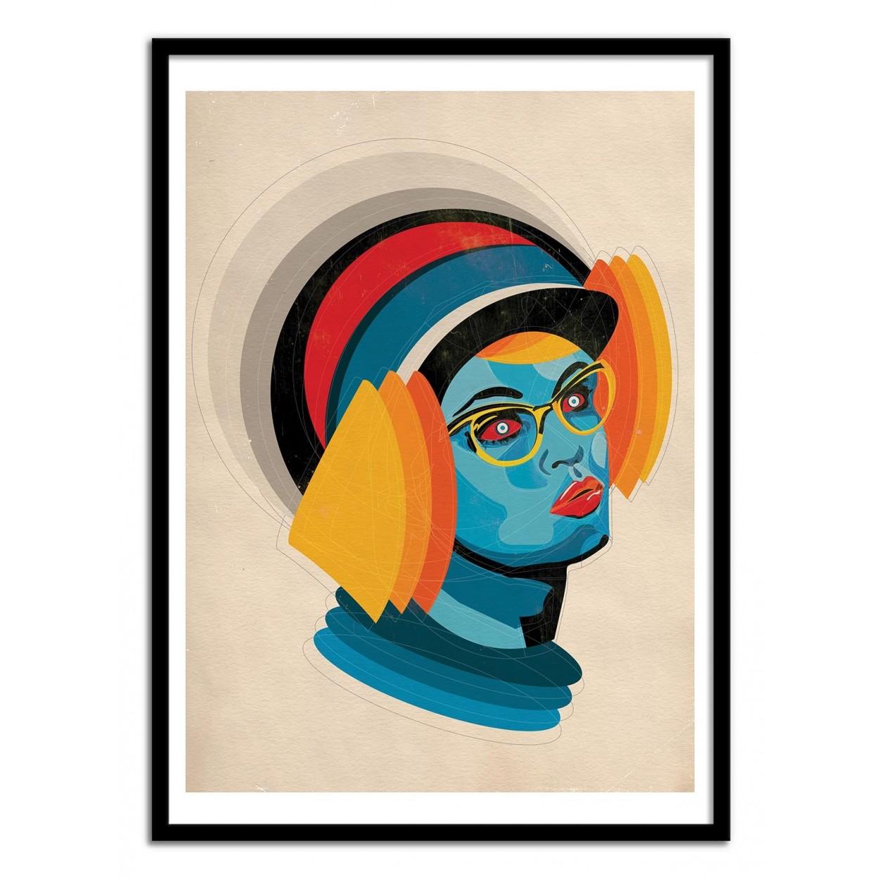 illustration art poster frame paint graphic portrait girl helmet. Black Bedroom Furniture Sets. Home Design Ideas