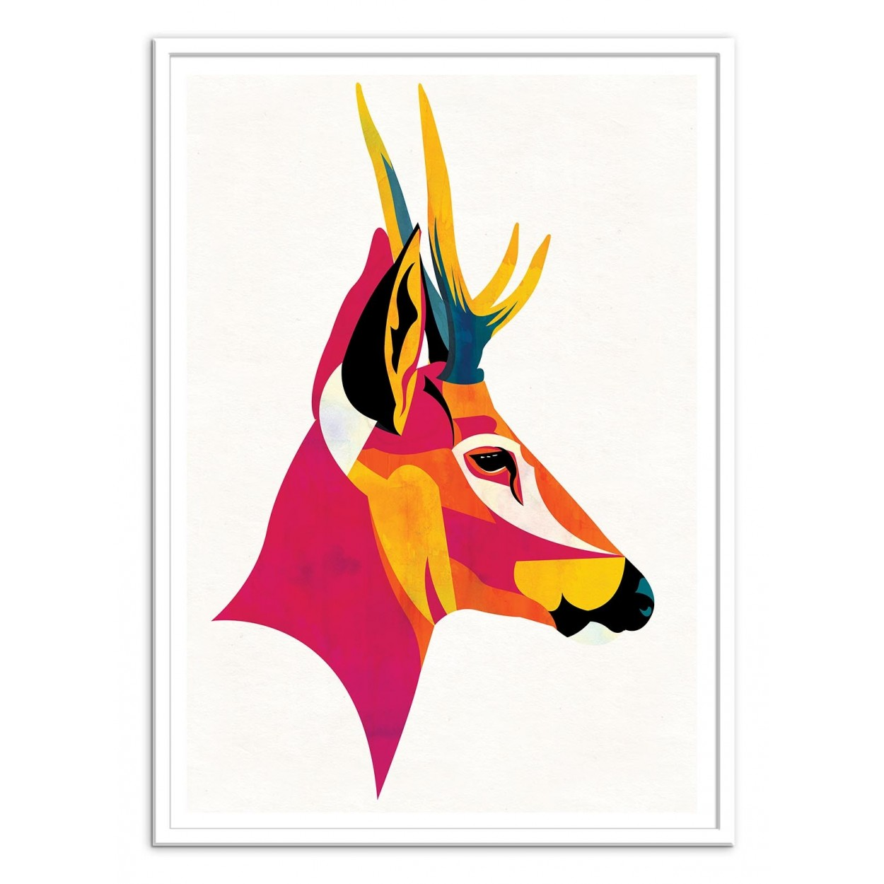 affiche d 39 art poster illustration portrait huemul cerf animal. Black Bedroom Furniture Sets. Home Design Ideas