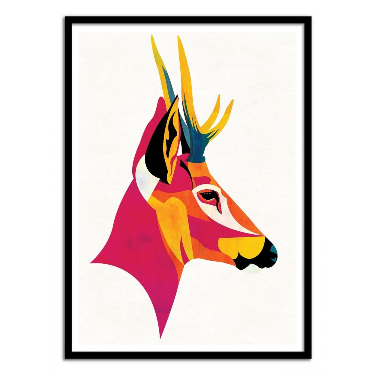 illustration art poster frame paint graphic portrait huemul stag. Black Bedroom Furniture Sets. Home Design Ideas