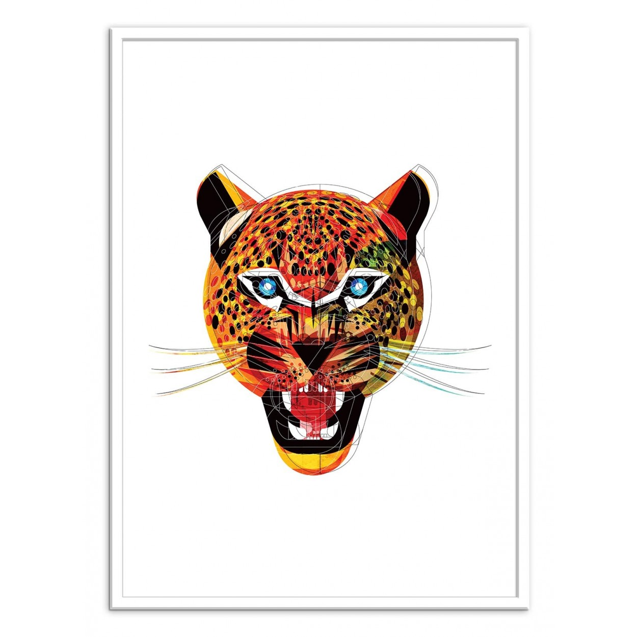 affiche d 39 art poster illustration portrait jaguar animal. Black Bedroom Furniture Sets. Home Design Ideas