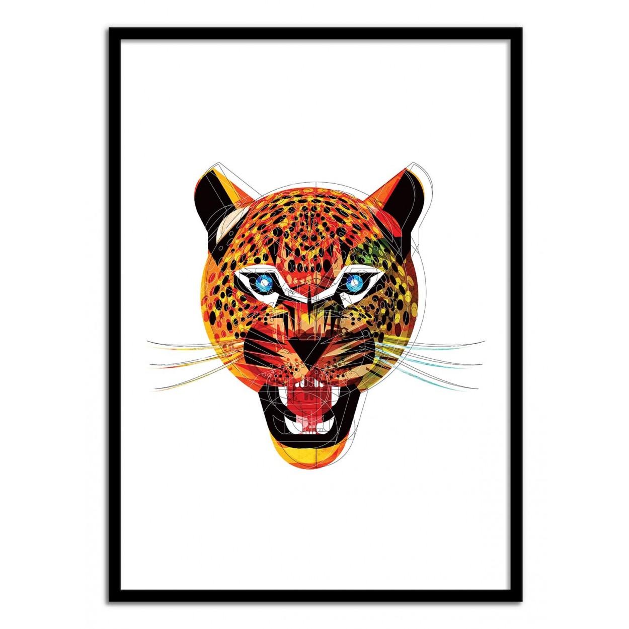 affiche d 39 art poster illustration portrait jaguar animal. Black Bedroom Furniture Sets. Home Design Ideas