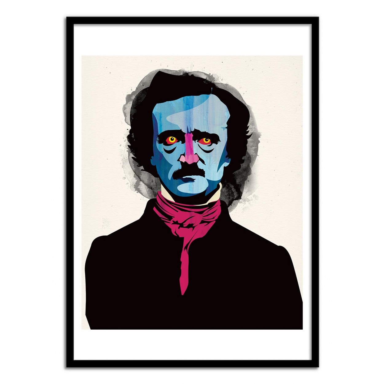 affiche d 39 art poster illustration portrait edgar allan poe artiste. Black Bedroom Furniture Sets. Home Design Ideas