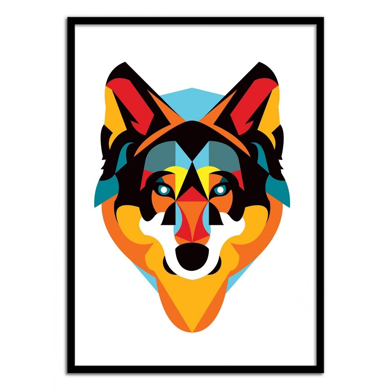 affiche d 39 art poster illustration portrait loup animal. Black Bedroom Furniture Sets. Home Design Ideas